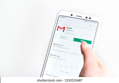 Ufa, Russia January 30, 2019: : GMail application on an android Google Play Store.
