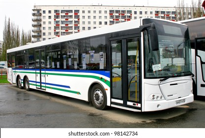 """UFA, RUSSIA - MAY 11: City bus NEFAZ 52998 (VDL Transit) exhibited at the annual Motor show """"Autosalon"""" on May 11, 2011 in Ufa, Bashkortostan, Russia."""