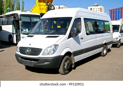 "UFA, RUSSIA - MAY 12: Minibus Mercedes Sprinter 515CDI exhibited at the annual Motor show ""Autosalon"" on May 12, 2008 in Ufa, Bashkortostan, Russia."