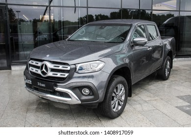 Ufa, Russia - May 24, 2019: Brand new pickup truck Mercedes-Benz BR470 X-class in the city street.