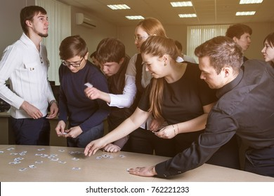 Ufa, Russia November 13, 2017: online financial strategy game VINK at the Oil University. Students draw a lottery.