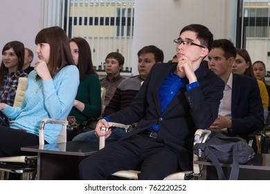Ufa, Russia November 14, 2017: Lecture at the Oil University. People in the audience listen and watch