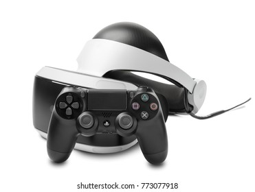 UFA, RUSSIA - NOVEMBER 22, 2017: Playstation VR headset unit for virtual reality gaming with sony playstation 4 pro. The PlayStation VR is a virtual reality headset developed by Sony Interactive.
