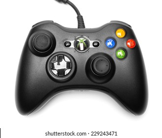 UFA, RUSSIA - NOVEMBER 9, 2014: The Microsoft Xbox 360 Controller, a gamepad for the Xbox, isolated on white background.