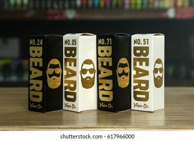 "Ufa, Russia, South Vape Shop, 5 April, 2016: E-liquid (e-juice) ""Beard"" for electronic cigarette (vaping device), on the counter in vape bar in boxes."