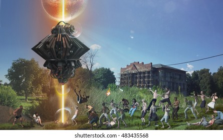 UFO alien flying with lights attack people 3d illustration
