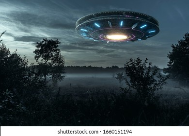 UFO, an alien plate hovering over the field, hovering motionless in the air. Unidentified flying object, alien invasion, extraterrestrial life, space travel, humanoid spaceship mixed medium - Shutterstock ID 1660151194