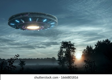 UFO, an alien plate hovering over the field, hovering motionless in the air. Unidentified flying object, alien invasion, extraterrestrial life, space travel, humanoid spaceship mixed medium - Shutterstock ID 1666801816