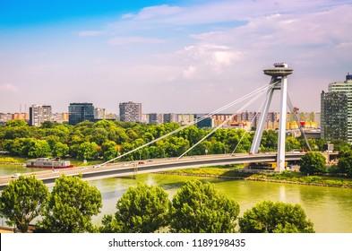 UFO bridge over Danube river in Bratislava, Slovakia