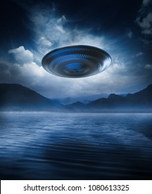 UFO floating on top of a lake /3D illustration / mixed media
