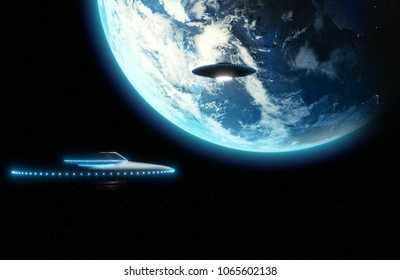 UFO flying saucer with blue lights flying to Earth, Metallic reflective surface - 3D rendering