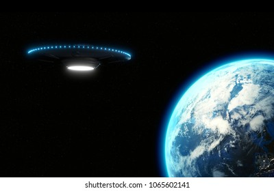 UFO flying saucer with blue lights looming over Earth, Metallic reflective surface - 3D rendering