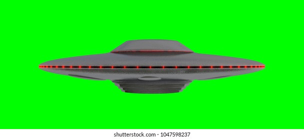 UFO - Flying Saucer - isolated on green screen - Red lights - side view