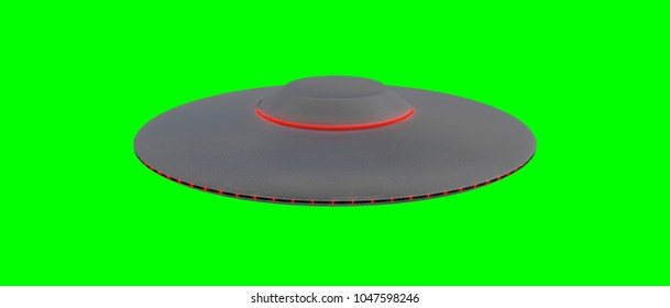UFO - Flying Saucer - isolated on green screen - Red lights - top view