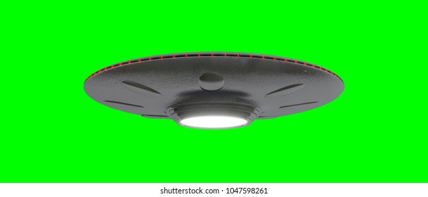 UFO - Flying Saucer - isolated on green screen - Red lights - low