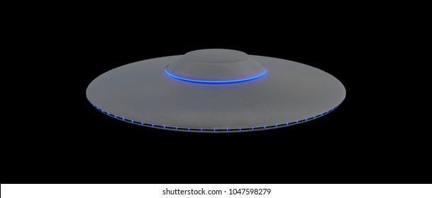UFO - Flying Saucer - isolated on black background - Blue lights - top view