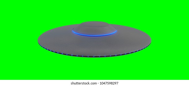 UFO - Flying Saucer - isolated on green screen - blue lights - top view