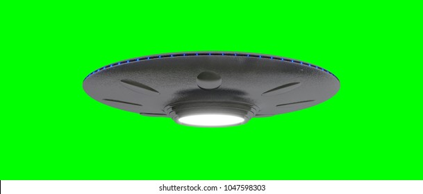 UFO - Flying Saucer - isolated on green - blue lights -  screen bellow