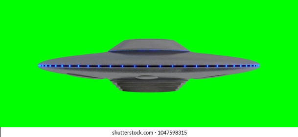 UFO - Flying Saucer - isolated on green - blue lights -  screen side view