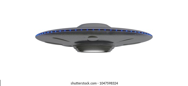 UFO - Flying Saucer - isolated on White background - Blue lights - slightly low