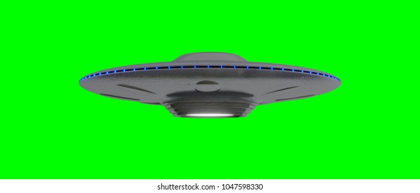 UFO - Flying Saucer - isolated on green screen - blue lights - slightly under
