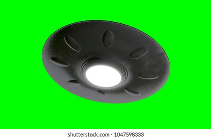 UFO - Flying Saucer - isolated on green screen - blue lights - bottom