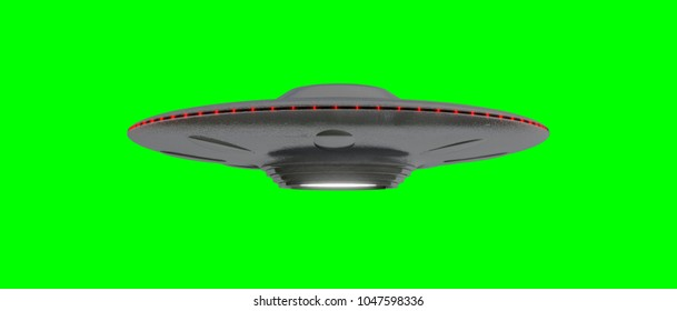 UFO - Flying Saucer - isolated on green screen - Red lights - slightly under