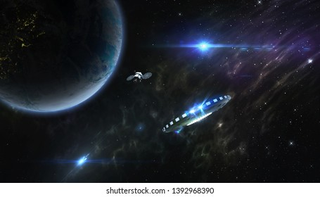 UFO and satellite in orbit of a planet