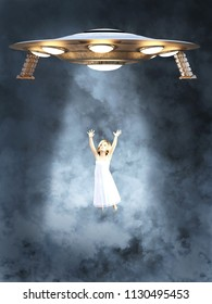An UFO space ship abducting a young girl. She is surrounded by smoke or clouds and light beams from the space ship is shining on her, 3D rendering.