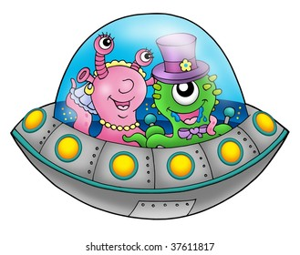 UFO wedding couple - color illustration.