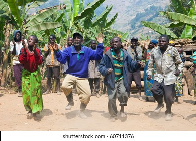 UGANDA - AUGUST 22: Pygmy  of ethnic dancing, the Pygmies of Uganda live in villages practically held in Kabale district, August 22, 2010 in Kabale, Uganda