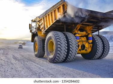 UGLEGORSK, SAKHALIN/RUSSIA - JANUARY 19, 2019: Mining dump truck BELAZ 7530 (payload capacity220 mt) at the coal mine near Uglegorsk, Sakhalin region