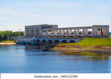 Uglich, Russia - June, 10, 2019: hydroelectric generating station on Volga river in Uglich