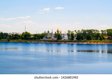Uglich, Russia - June, 17, 2019: embankment of Volga river in Uglich, Russia with a view to Kremlin and resurrection monastery