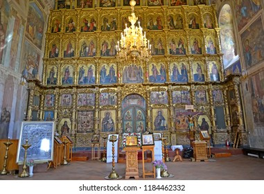 UGLICH, RUSSIA - MAY 21, 2018: An iconostasis in the Transfiguration Cathedral interior