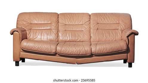 Ugly, broken and dirty couch on white
