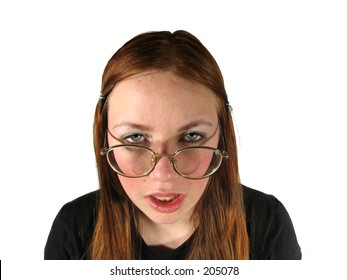 ugly girl with glasses on white background