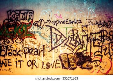 Ugly graffiti wall, urban art