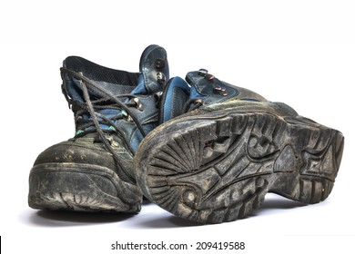 ugly old shoes isolated on white background