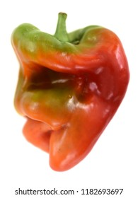Ugly shaped organic vegetables. Deformed homegrown bell pepper isolated on white background