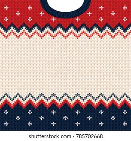 Ugly sweater Merry Christmas and Happy New Year greeting card frame border template. illustration knitted background pattern with scandinavian ornaments. White, red, blue colors. Flat style
