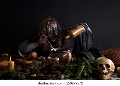 ugly witch brewing potion in laboratory