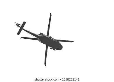 "UH-60 ""Black Hawk"" flying a demo on white background.2019/3/30 in Taiwan"