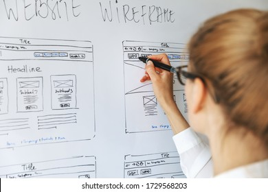UI UX designer drawing new website wireframe