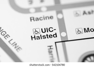 UIC-Halsted Station. Chicago Metro map.