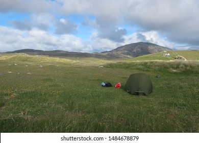 Uig Sands, Isle of Lewis. Scotland. June. 7. 2019. Ardroil Beach wild camping Campsite