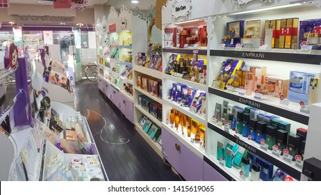 Uijeongbu, Gyeonggi Province / South Korea - June 4 2019: Holika Holika cosmetic and health care shop in open market near Uijeongbu train station, This store have many branches and popular in Korea