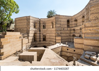 uins of the wall of Fortress of Babylon next to Coptic Museum in old Cairo