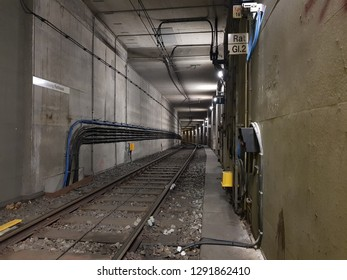 UISBURG, NRW, GERMANY - 17 January 2019 View of tunel tram 901 stop - Rathaus