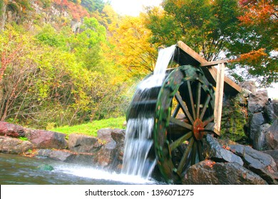 """Uiseong County, Binggye Valley, Gyeongsangbuk-do. Korea. On October 23, 2010. In the so-called """"ice valley,"""" Korean traditional water-mill landscape, a healing place to visit in Korea"""